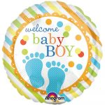 Welcome Baby Boy folija balon z napisom Welcome baby boy in modrim odtisom nogice